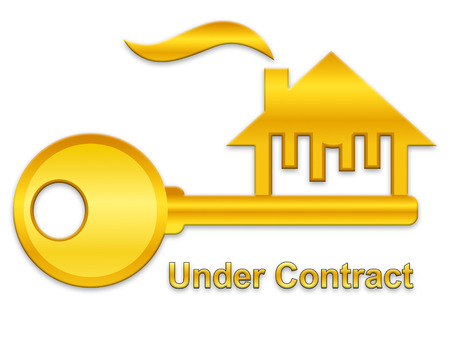 Home Under Contract Symbol Depicting Real Estate Purchase Completed. Legal Documents Finished And House Offer Agreed  - 3d Illustration