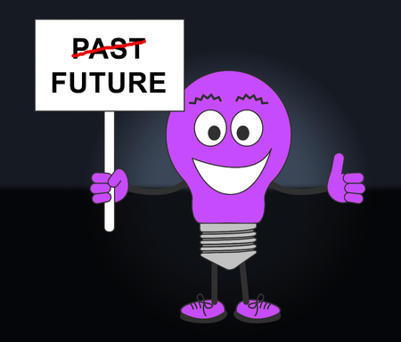 Future Versus Past Sign Comparing History With Upcoming Events. The Chance Of Improvement, Progress And Evolution - 3d Illustration Фото со стока - 120356442