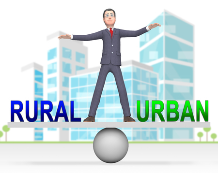 Rural Vs Urban Lifestyle Seesaw Compares Suburban And Rural Homes. Busy City Living Or Fields And Farmland - 3d Illustration Stok Fotoğraf
