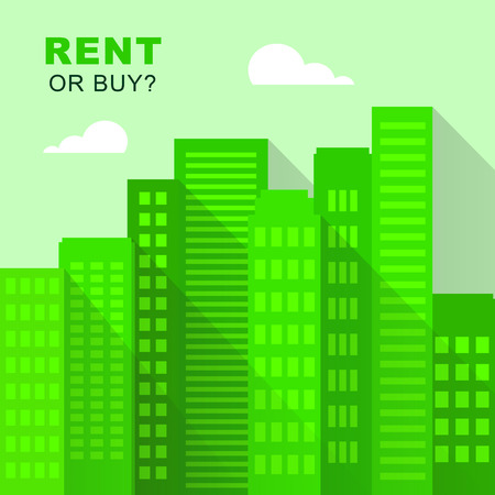 Rent Vs Buy Buildings Comparing House Or Apartment Renting And Buying. Investment Or Home Ownership Of Property - 3d Illustration
