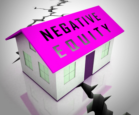 Negative Equity Icon Shows Losses Or Debt Bigger Than House Value. Economic Downturn Causes Bankruptcy And Failure - 3d Illustration