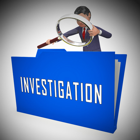 Criminal Investigation File Showing Crime Detection Of Legal Offense 3d Illustration. Analyzing Evidence Of Fraud Or Murder