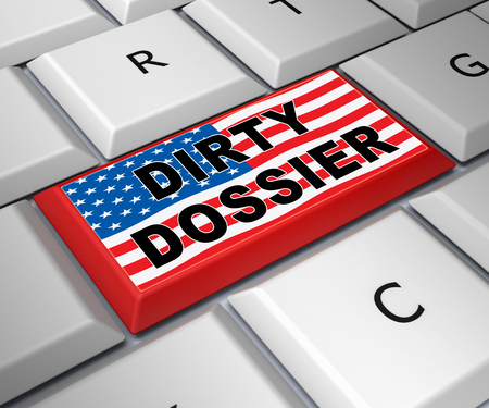 Dirty Dossier Key Containing Political Information On The American President 3d Illustration. Investigation Data From Spying On Russia