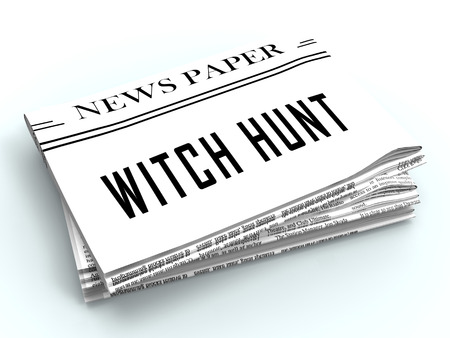Witch Hunt Newspaper Meaning Harassment or Bullying To Threaten Or Persecute 3d Illustration. Deep State Trying To Harass The President Stock fotó