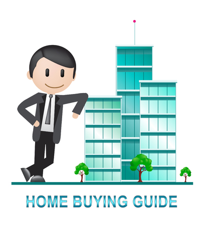 Home Buying Guide Apartments Depicts Evaluation Of Buying Real Estate. Purchasing Guidebook And Information - 3d Illustration Standard-Bild - 120356624