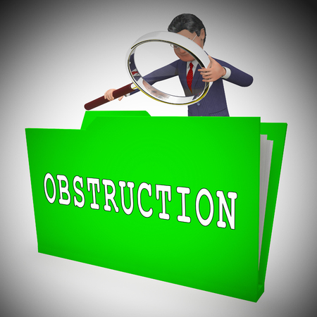 Obstruction Of Justice In Politics Folder Meaning Hindering Political Cases Or Congress 3d Illustration. Legislation Process Blocked Or Hindered.
