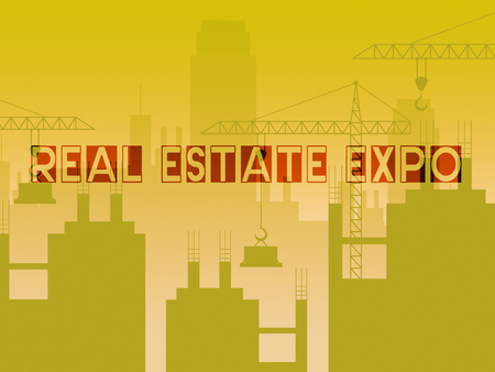 Real Estate Expo City Depicting Property Exhibition For Buyers. Trade Fair For Housing Purchase And Rentals - 3d Illustration 版權商用圖片