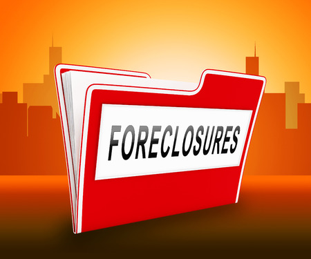 Foreclosure Notice Folder Means Warning That Property Will Be Repossessed. Mortgage Failure Prompts Eviction And Sale - 3d Illustration