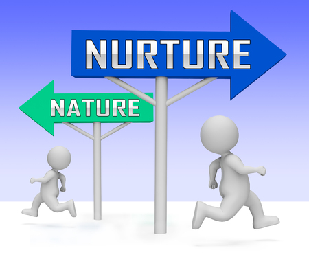 Nature Vs Nurture Sign Means Theory Of Natural Intelligence Against Development Or Family Growth From Love- 3d Illustration