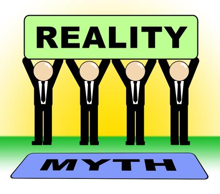 Myth Versus Reality Sign Showing False Mythology Vs Real Life. Truth And Sincerity Against Fantasy - 3d Illustration