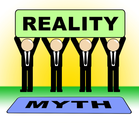 Myth Versus Reality Sign Showing False Mythology Vs Real Life. Truth And Sincerity Against Fantasy - 3d Illustration
