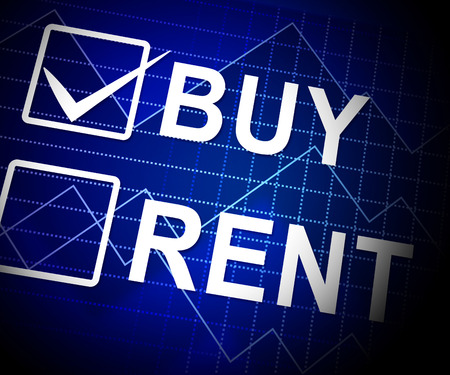 Rent Vs Buy Checkbox Comparing House Or Apartment Renting And Buying. Investment Or Home Ownership Of Property - 3d Illustration Фото со стока