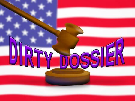 Dirty Dossier Gavel Containing Political Information On The American President 3d Illustration. Investigation Data From Spying On Russia Archivio Fotografico