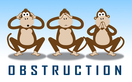 Obstruction Of Justice And Corruption Monkeys Meaning Impeding A Legal Case 3d Illustration. Hindering The Process Of Law