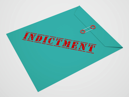 Sealed Indictment Envelope Representing Prosecution And Enforcement Against Defendant 3d Illustration. Federal Crime And Legal Judgement
