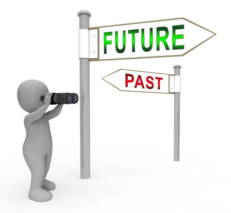Past Vs Future Sign Compares Life Gone With Upcoming Prospects. Looking At Destiny, Fate And Opportunity - 3d Illustration