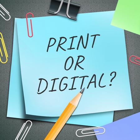 Print versus digitale notitie met gepubliceerde brochure versus digitale versie. Mediapublicatie tegen online advertentie - 3d illustratie Stockfoto