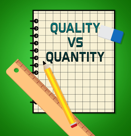 Quality Vs Quantity Note Depicting Balance Between Product Or Service Superiority Or Production. Value Versus Volume - 3d Illustration Фото со стока