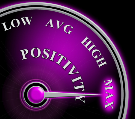 Positive Versus Negative Gauge Depicting Reflective State Of Mind. Motivation And Optimism Vs Pessimism - 3d Illustration 스톡 콘텐츠