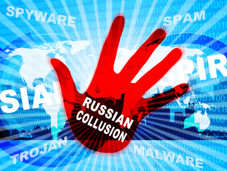 Russia Collusion Hand Depicting Conspiracy And Cooperation With The Russian Government 3d Illustration. Dirty Politics In The United States Stock Photo