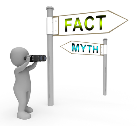 Fact Vs Myth Signs Describes Truthful Reality Versus Deceit. Fake News Against Truth And Honest Integrity - 3d Illustration