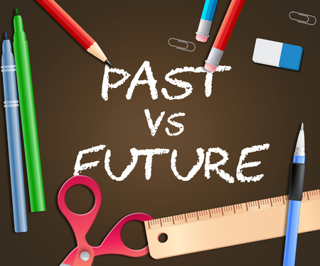 Future Versus Past Words Comparing History With Upcoming Events. The Chance Of Improvement, Progress And Evolution - 3d Illustration