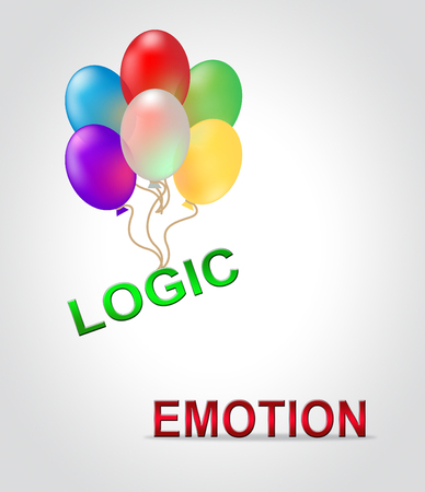 Emotion Versus Logic Writing Illustrates The Difference Between Head And Heart. The Mind Deals With Rational Thinking, Imagination And Feelings - 3d Illustration