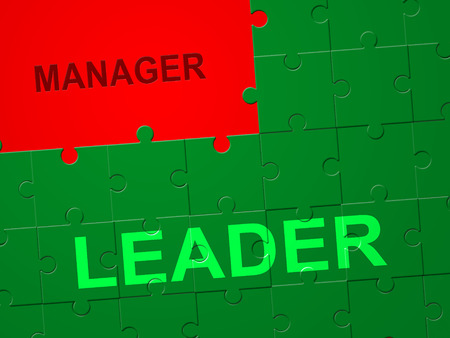 Leader Versus Manager Jigsaw Depicts Supervising Vs Leading. Entrepreneur Vision Compared With Following Rules And Systems - 3d Illustration Stock Photo