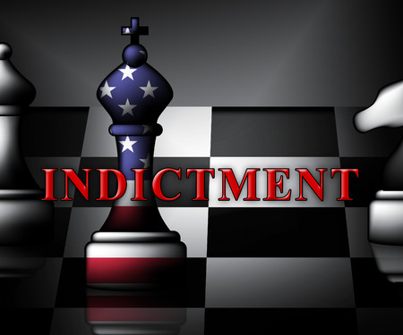 Federal Indictment Chess Piece Shows Lawsuit And Prosecution Against Accused 3d Illustration. Litigation And Enforcement Of Justice Stock Photo