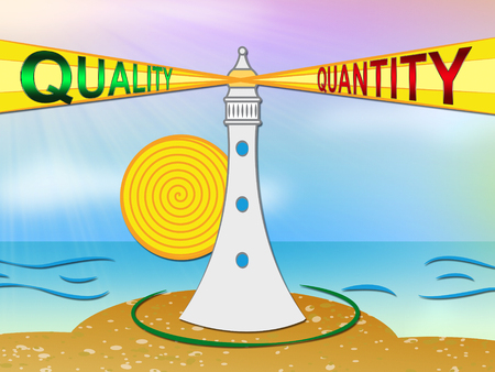 Quality Vs Quantity Words Depicting Balance Between Product Or Service Superiority Or Production. Value Versus Volume - 3d Illustration Фото со стока