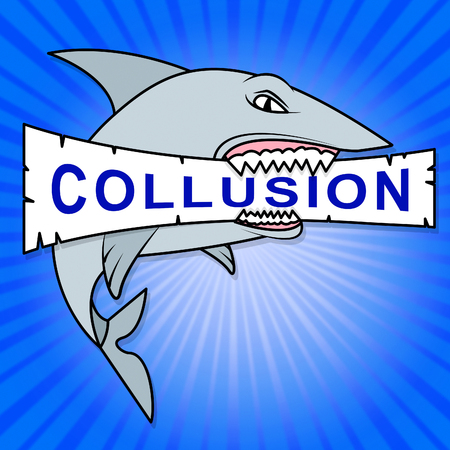 Collusion Report Shark Showing Russian Conspiracy Or Criminal Collaboration 3d Illustration. Secret Government Plotting With Foreign Players