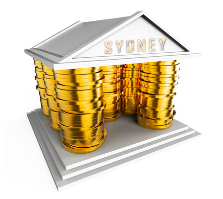 Luxury Home Sydney Coins Icon Showing High Class Accomodation In Australia. Upscale Mansion Or Luxurious Renovation - 3d Illustration Stock fotó