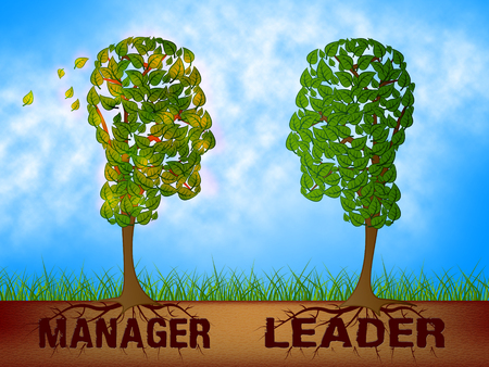 Leader Versus Manager Drawing Depicts Supervising Vs Leading. Entrepreneur Vision Compared With Following Rules And Systems - 3d Illustration