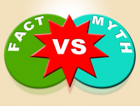 Fact Vs Myth Words Describes Truthful Reality Versus Deceit. Fake News Against Truth And Honest Integrity - 3d Illustration