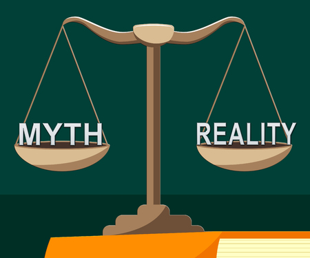 Myth Vs Reality Balance Demonstrating Authenticity Versus False Facts. Integrity And Honesty Compared With Lies - 3d Illustration Stockfoto