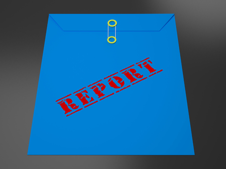 Impact Report Envelope Shows A Summary Or Writing Of Evidence And Results 3d Illustration. Business Data Or Political Information