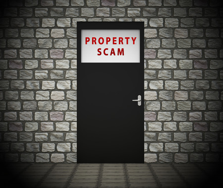 Property Scam Hoax Doorway Depicting Mortgage Or Real Estate Fraud. Residential Properties Realty Swindle - 3d Illustration Stock Illustration - 120385828
