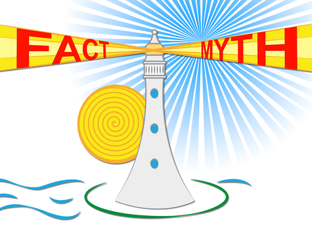 Fact Vs Myth Lighthouse Describes Truthful Reality Versus Deceit. Fake News Against Truth And Honest Integrity - 3d Illustration
