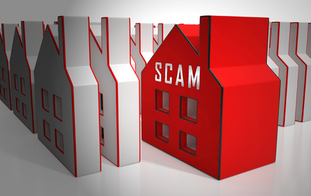Property Scam Hoax Icon Depicting Mortgage Or Real Estate Fraud. Residential Properties Realty Swindle - 3d Illustration Stock Photo