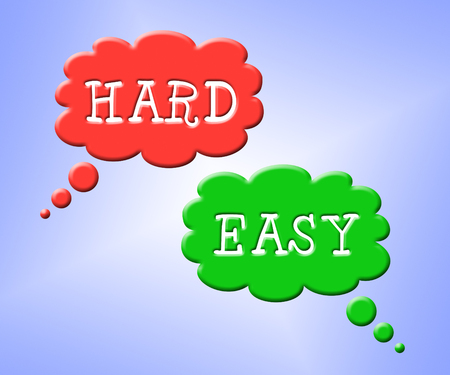 Hard Vs Easy Words Represent Tough Choice Versus Difficult Problem. Guidance To Solve A Problem Without Difficulty - 3d Illustration Stok Fotoğraf