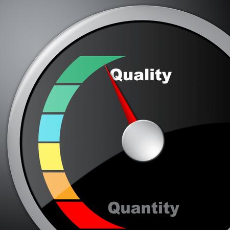 Qualitäts-gegen-Quantitäts-Messgerät, das das Gleichgewicht zwischen Produkt- oder Serviceüberlegenheit oder Produktion darstellt. Wert versus Volumen - 3D-Darstellung Standard-Bild