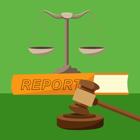 Impact Report Balance Shows A Summary Or Writing Of Evidence And Results 3d Illustration. Business Data Or Political Information Stock Photo