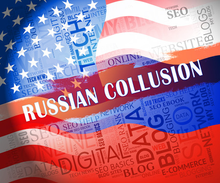 Russian Collusion During Election Campaign Showing Corrupt Politics In America 3d Illustration. Conspiracy In A Democracy Allows Blackmail Or Fraud