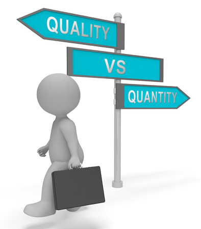 Quality Vs Quantity Signpost Depicting Balance Between Product Or Service Superiority Or Production. Value Versus Volume - 3d Illustration Фото со стока