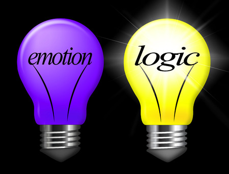 Emotion Vs Logic Light Depicts The Logical Compared With Emotional Mind. These Opposite Views Include Analytics Pragmatism And Intuition - 3d Illustration