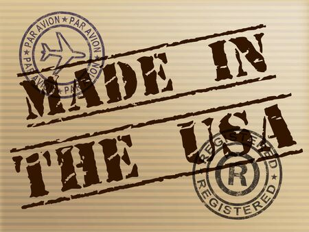 Made in the USA stamp shows American products produced or fabricated in America. Quality patriotic exports for international trade - 3d illustration 스톡 콘텐츠