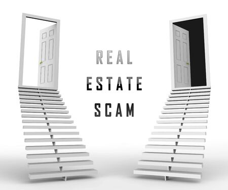 Real Estate Scam Doorways Depicting Property Deceit And Deception. Scams And Crime In The Realty Industry - 3d Illustration Imagens - 124891187