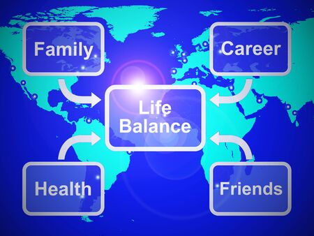 Life Balance harmony means equality between career family and friends.  Enjoying life and a healthy lifestyle - 3d illustration