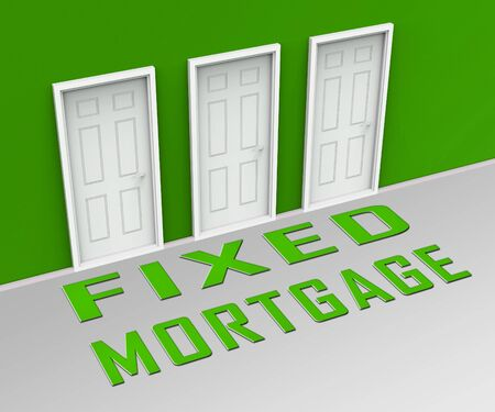 Fixed Mortgage Rate Doorway Shows Interest Repayment Not Variable. Monthly Loan Payment Amount Not Changing - 3d Illustration Stok Fotoğraf