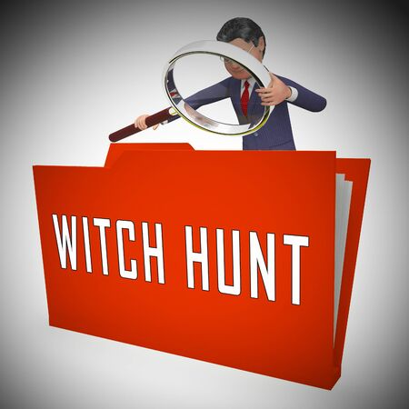 Witch Hunt Folder Meaning Harassment or Bullying To Threaten Or Persecute 3d Illustration. Deep State Trying To Harass The President Stock Photo